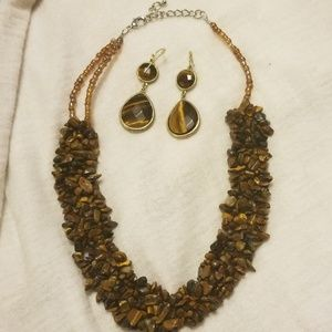 Tiger's Eye Necklace and Earrings